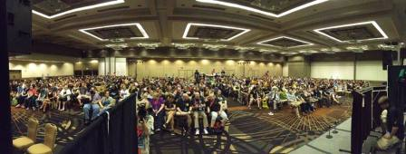 View from the stage of the Dragon*Con 2013 Late Nite Puppet Slam, hosted by Bob & Carl, SciFi Janitors. That's 1,000 people in the audience!