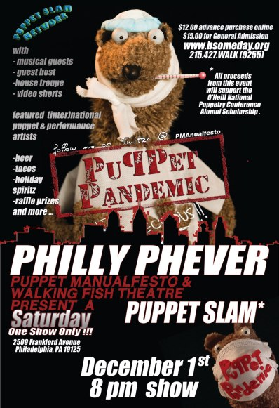 Flyer for the Philly Phever slam presented by Puppet Pandemic.